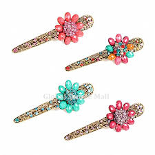 alligator hair vintage rhinestone resin flower large alligator hair clip