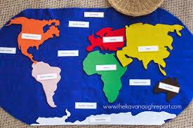 Beautiful World Map by Montessori Geography Trays