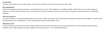 debriefing report template contextual inquiry know thy customer atlassian team playbook show me