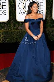 gina rodriguez navy blue off the shoulder prom ball gown golden