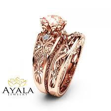 unique engagement ring settings peach pink morganite engagement ring set 14k rose gold bridal