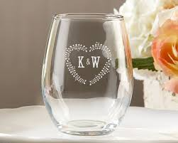 wedding favor glasses stemless wine glass wedding favors with personalized rustic leaf