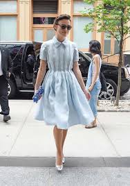 keira knightley shows off dainty figure wearing retro powder blue