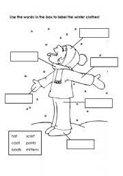 english teaching worksheets winter clothes