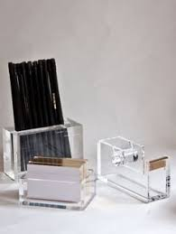 Lucite Desk Accessories Office Set Of Clear Things That Can Be Written On Format Stacking