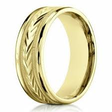 carved wedding bands designer men s wedding ring in 10k yellow gold engraved 6mm