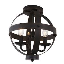 Bronze Semi Flush Ceiling Light by Shop Allen Roth Crossburg 10 In W Oil Rubbed Bronze Metal Semi