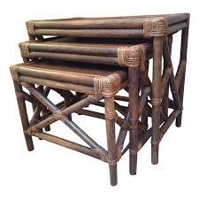 vintage rattan nesting tables vintage set of 3 rattan wood nesting tables touchgoods