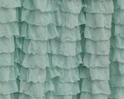 Turquoise Ruffle Curtains Beach Curtains Etsy