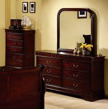 Cherry Sleigh Bed Cherry Finish Louis Philippe Bedroom W Elegant Sleigh Bed