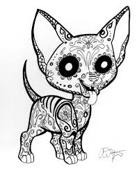 day of the dead coloring pages dogs sugar skull chihuahua