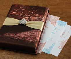 indian wedding card box brown satin presentation box with ribbon for an indian