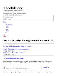 rf circuit design ludwig solution manual free pdf downloads