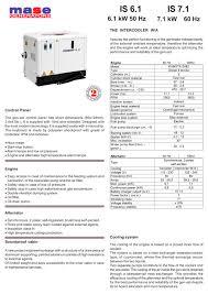 is6 1 is7 1 mase generators pdf catalogues documentation