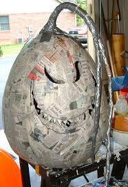 large paper mache egg paper mache jackolanterns spooky blue