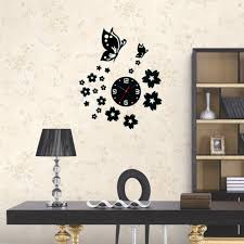 3d wall clocks unique butterfly and flowers design mirror face