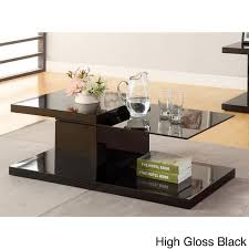 Overstock Sofa Tables Furniture Of America Vironte High Gloss Swivel Top Coffee Table