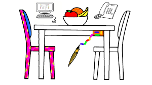 dining table telephone computer coloring page learn colors for