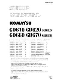 komatsu motor grader gd610 gd620 gd660 gd670 series workshop