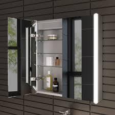 600 x 650 illuminated led bathroom mirror cabinet shaver socket