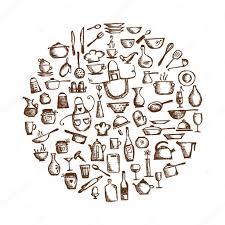 kitchen utensils sketch drawing for your design u2014 stock vector
