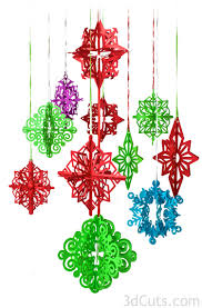 3d paper christmas tree ornaments cutting files by marji roy of