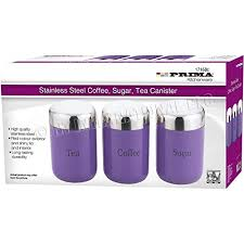 purple kitchen canister sets 3pc canister set stainless steel coffee tea sugar jar lid