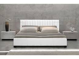 queen size pu leather bed frame monaco collection white intended