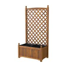 dmc lexington 28 in x 16 in teak oil wood planter with trellis