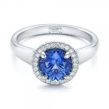 sapphire halo engagement rings custom blue sapphire and halo engagement ring 102028