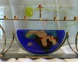 unique menorah glass menorah etsy