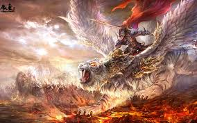 warrior weapon tiger wings grin army magic wallpaper