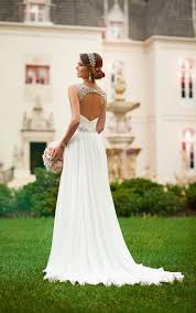 grecian wedding dress flowy grecian bridal gown with sparkly belt stella york