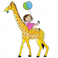 little sitting on giraffe u0027s neck u2014 stock vector mkoudis