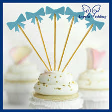 CS003A New 2017 Birthday Party nice blue gold bowknot Baby Shower