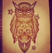 owl skull tattoos owl and
