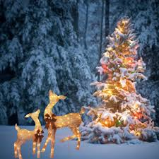 Outdoor Christmas Ornaments Lighted by Christmas Decorations Lighted Deer Lighted Deer Sculptures