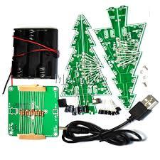 3d xmas tree diy kits 7 color light flash led circuit christmas