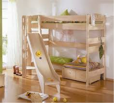 cream polished solid wood loft bed with small sofa and