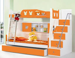 light brown wooden bunk bed for kids with stairs and pull out
