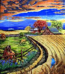 ceramic tile murals installed in kitchens backsplash wall murals sunset on wheat farm another place to consider for a tile mural in 2 story stone fireplace chimney with stone border