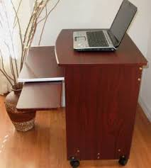 Small Rolling Computer Desk Sw2718 26 W Narrow Compact Computer Desk W Mouse Tray