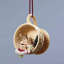 hanging ornament mice in teacup of collection