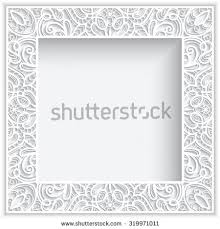 square frame cutout paper lace border stock vector 327903680