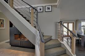 modern stair railing staircase contemporary with black and white