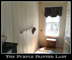 painted wood wall dated paneling not any more using chalk paint the purple