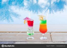 colored cocktails on a background of water colorful cocktails
