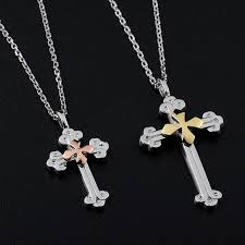 double necklace set images Blue sweet couple necklaces gold silver double cross necklace jpg