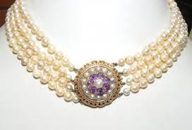 choker necklace pearl images 4 row pearl choker necklace with gold amethyst clasp JPG