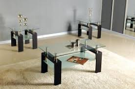 glass end table set black chrome glass top occasional coffee table set w 2 end tables